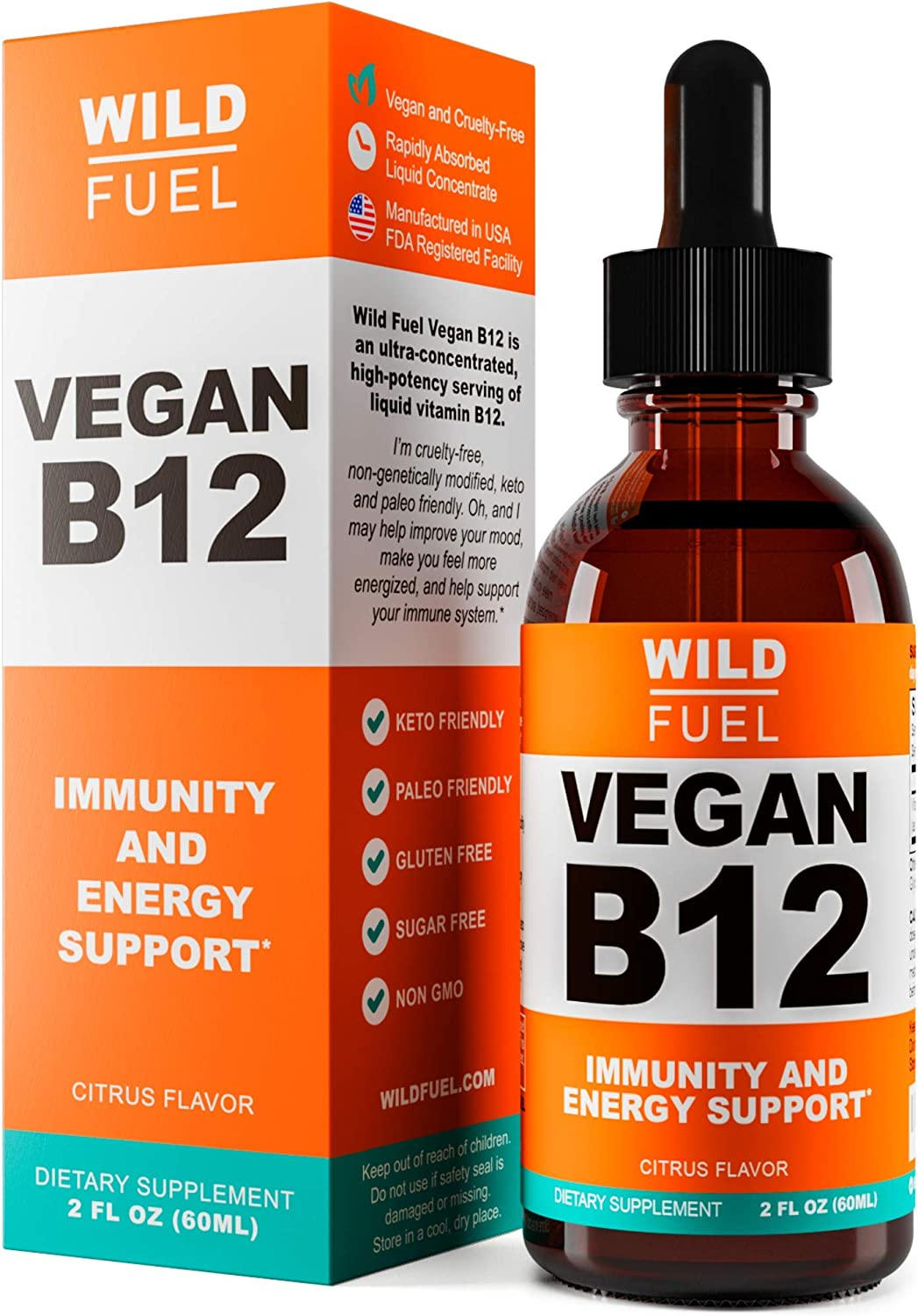 Vegan B12 Liquid Drops by Wild Fuel - Supports Production of Cells, Energy and Mood - High-Potency One-Dropper Per Day Sublingual Vitamin B12 Supplement - 5,000mcg, 2 Ounce