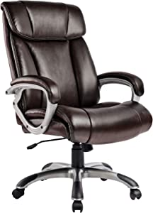 ComHoma High Back Office Chair Big and Tall 400 lb Executive Computer Desk Chair, Thick Padding for Comfort and Ergonomic Design for Lumbar Support,Brown
