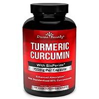 Turmeric Curcumin with BioPerine Black Pepper Extract - 750mg per Capsule, 120 Veg...