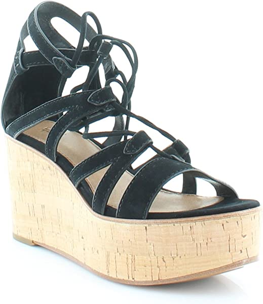 2fcf7944658 Amazon.com: FRYE Women's Heather Gladiator Black Suede Wedge: Shoes