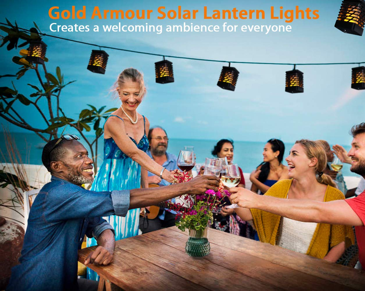 Flickering Flames Torch Solar Path Light 2 Pack Lantern Gold Armour 2 Pack Solar Lights Outdoor Dancing Flame Lighting 96 LED Dusk to Dawn Flickering Tiki Torches Outdoor Waterproof Garden