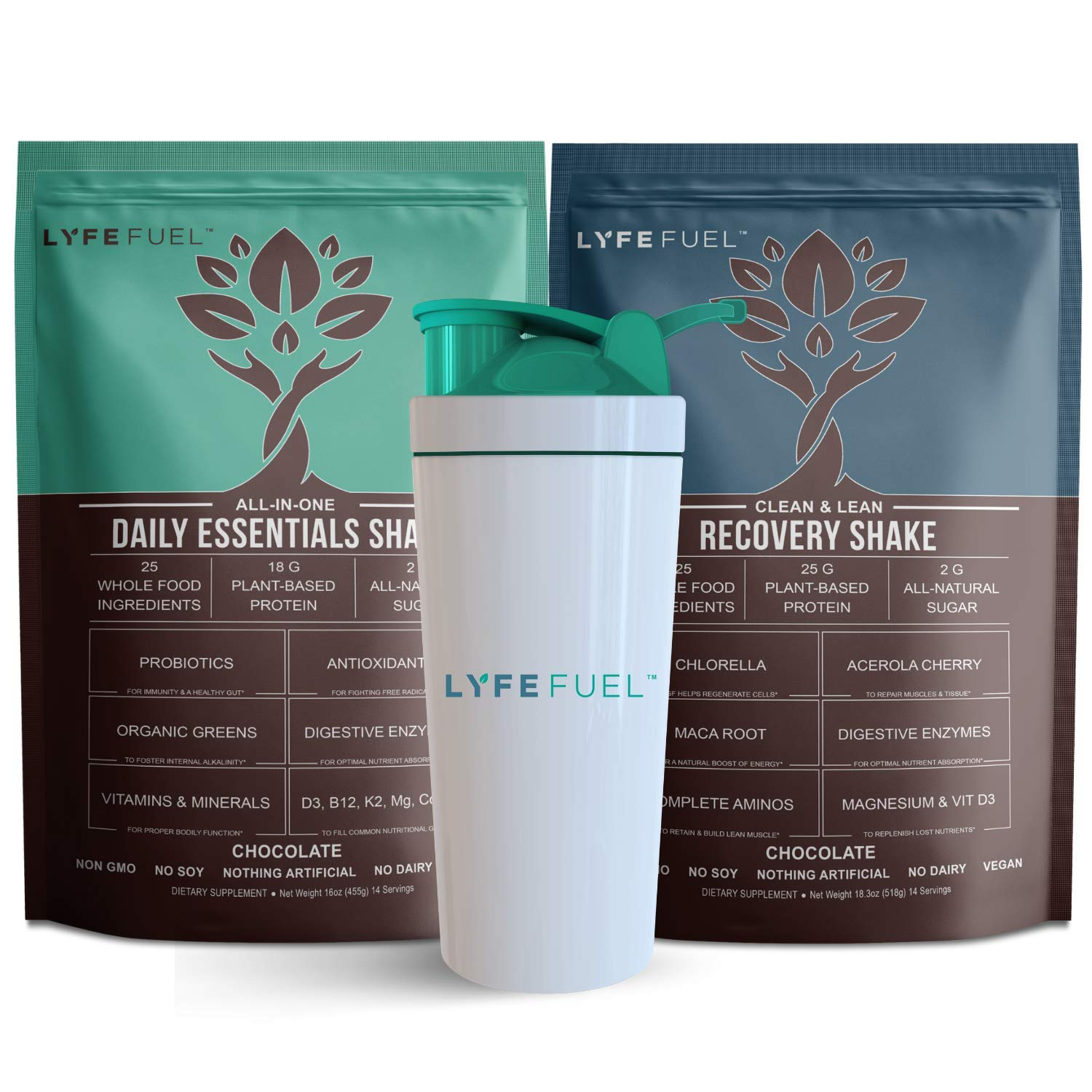 LYFE FUEL Transformation Bundle - All-in-One Meal Replacement Shake + Clean & Lean Post-Workout Recovery - Low Carb Vegan Keto Protein Powder (Small Bags, Essentials Chocolate + Recovery Chocolate)