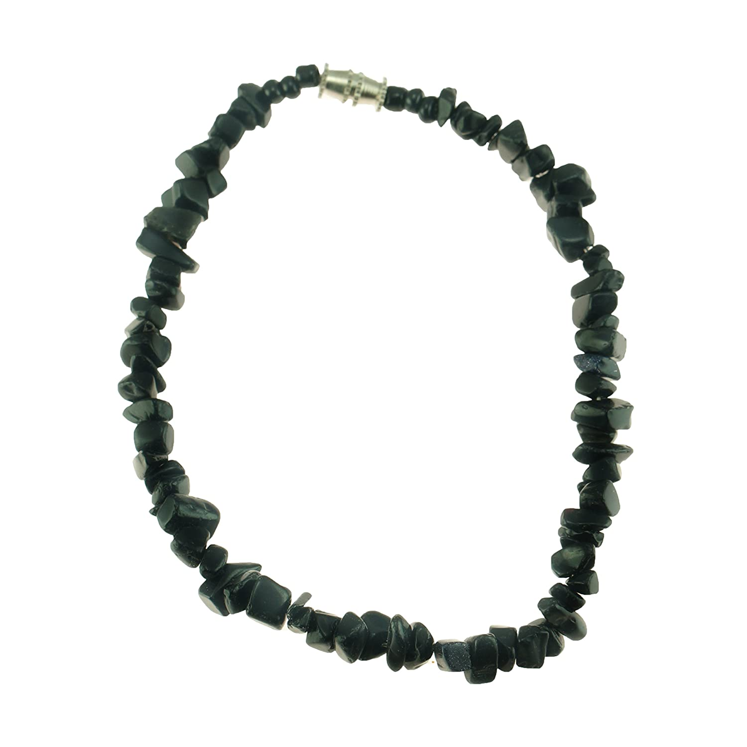 Black Onyx Gemstone Chips Anklet BlueRica BRSPGCBO1A
