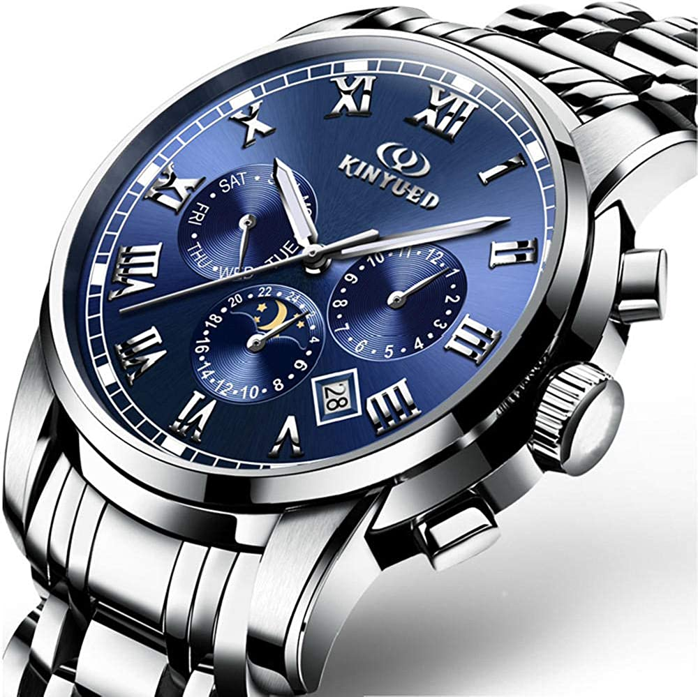 Orologio Da Uomo Di Alta Qualità Blu Sole, Luna, Stella, Automatico, Orologio Meccanico, Orologio Impermeabile Black