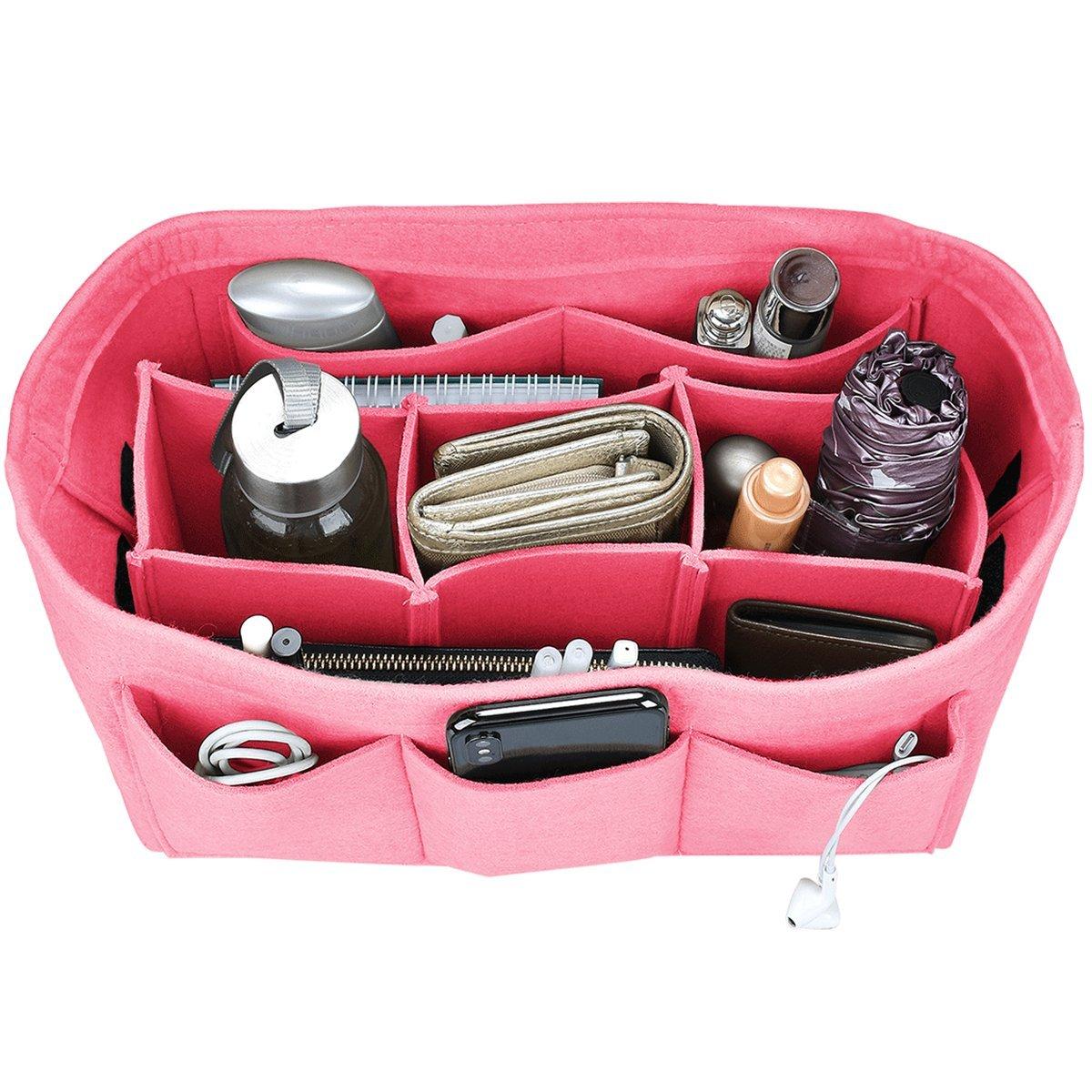 Felt Purse Insert Organizer, Handbag organizer, Bag in Bag for Handbag Purse Tote, Diaper Bag Organizer, Stand on Its Own, 12 Compartments, 3 Sizes (Medium, Pink)