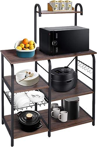 AuAg Kitchen Baker's Rack Utility Storage Shelf 35.4'' Microwave Stand 4 Tier Shelf Bakers Racks