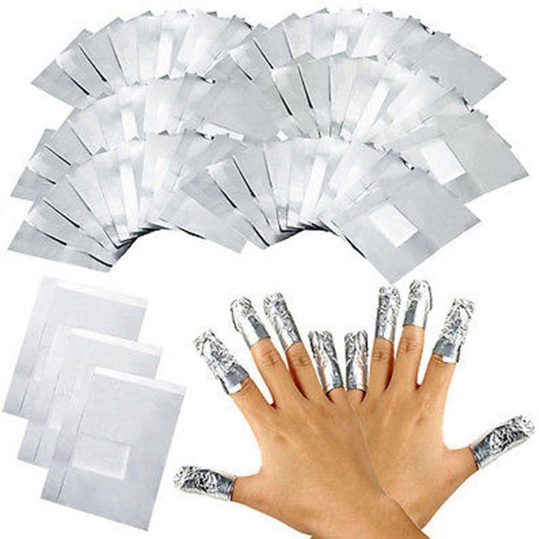 Eizur 100 Pezzi Foglio di alluminio Gel Smalto per Unghie Remover Soak Off Acrilico Lucido con Pads in Cotone Pre-Allegato per Salone Professionale per Unghie e Uso Individuale