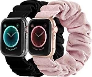 Compatible with Scrunchies Apple Watch Bands 38mm 40mm, Women Cloth Pattern Printed Fabric Wristbands Straps Elastic Scrunchy Band for iWatch Series 6 5 4 3 2 1 SE (Small Black, Pink)