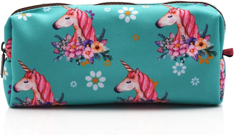 Unicorn Large Capacity Canvas Pencil Case Pen Bag Pouch Stationary Case Makeup Cosmetic Bag (Unicorn)