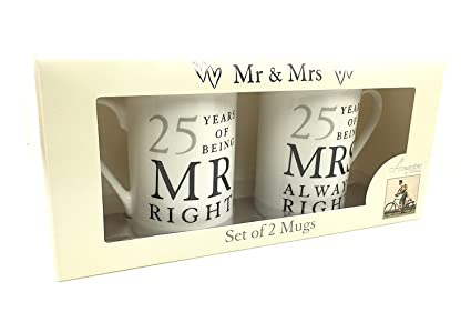 Image Unavailable. Image not available for. Colour 25th Silver Wedding Anniversary Gift ...  sc 1 st  Amazon.in & Buy 25th Silver Wedding Anniversary Gift - Pair Of Mugs Online at ...