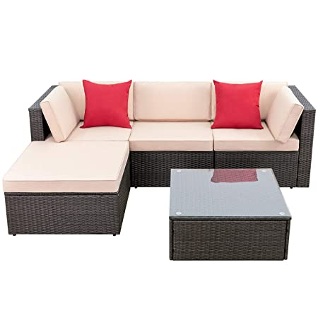 Devoko 5 Pieces Patio Furniture Sets All-Weather Outdoor Sectional Sofa Manual Weaving Wicker Rattan Patio Conversation Set with Cushion and Glass Table Red Pillow