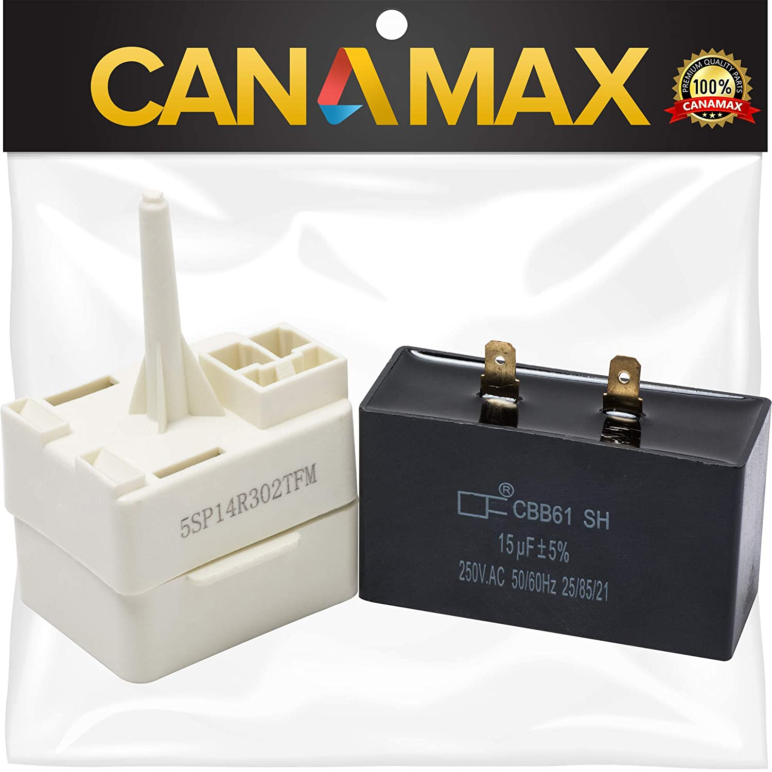 W10613606 Refrigerator Compressor Start Relay and Capacitor Premium Replacement Part by Canamax - Compatible with Whirlpool KitchenAid Kenmore Refrigerators- Replaces W10416065, PS8746522, 67003186
