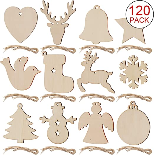 SAVITA 120pcs Unfinished Wood Slices 12 Styles Christmas Wooden Ornaments Natural Wood Blanks with Ropes for Christmas Tree Decorations Holiday DIY Crafts