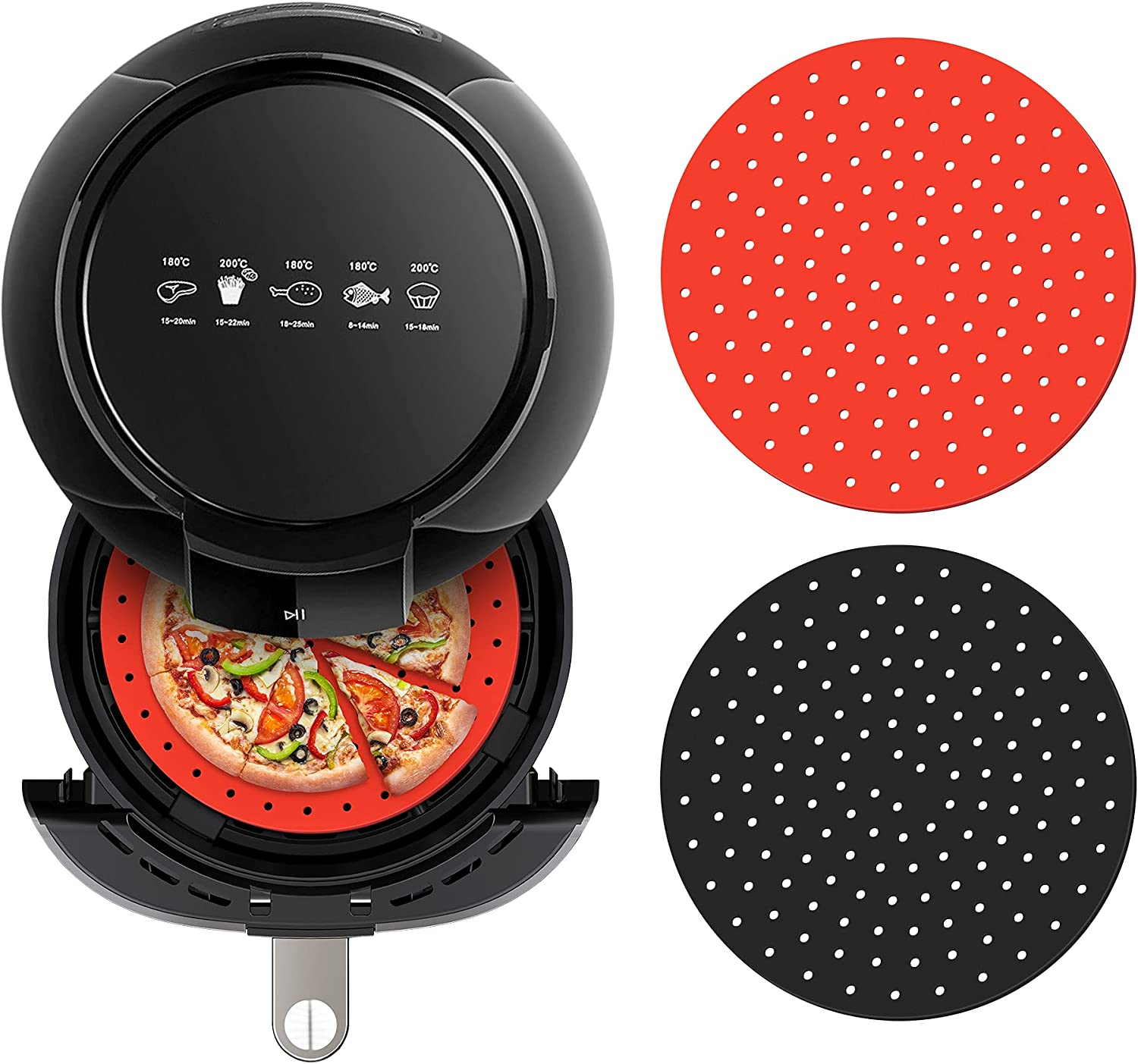 LIDSTOBALL Reusable Air Fryer Liners - 9 inch Round Non-Stick Silicone Air Fryer Mats - Air Fryer Accessories for Gourmia, Ninja, Cosori, Instant Vortex, Power XL and More (2 Packs)