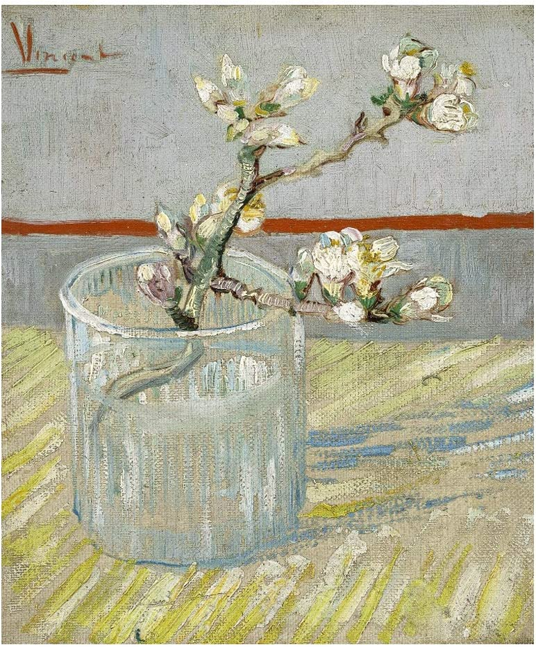 Wieco Art Spring of Flowering Almond in a Glass Canvas Prints Wall Art by Van Gogh Famous Oil Paintings Reproduction Modern Floral Giclee Artwork Grey Flowers Pictures for Bedroom Home Decorations