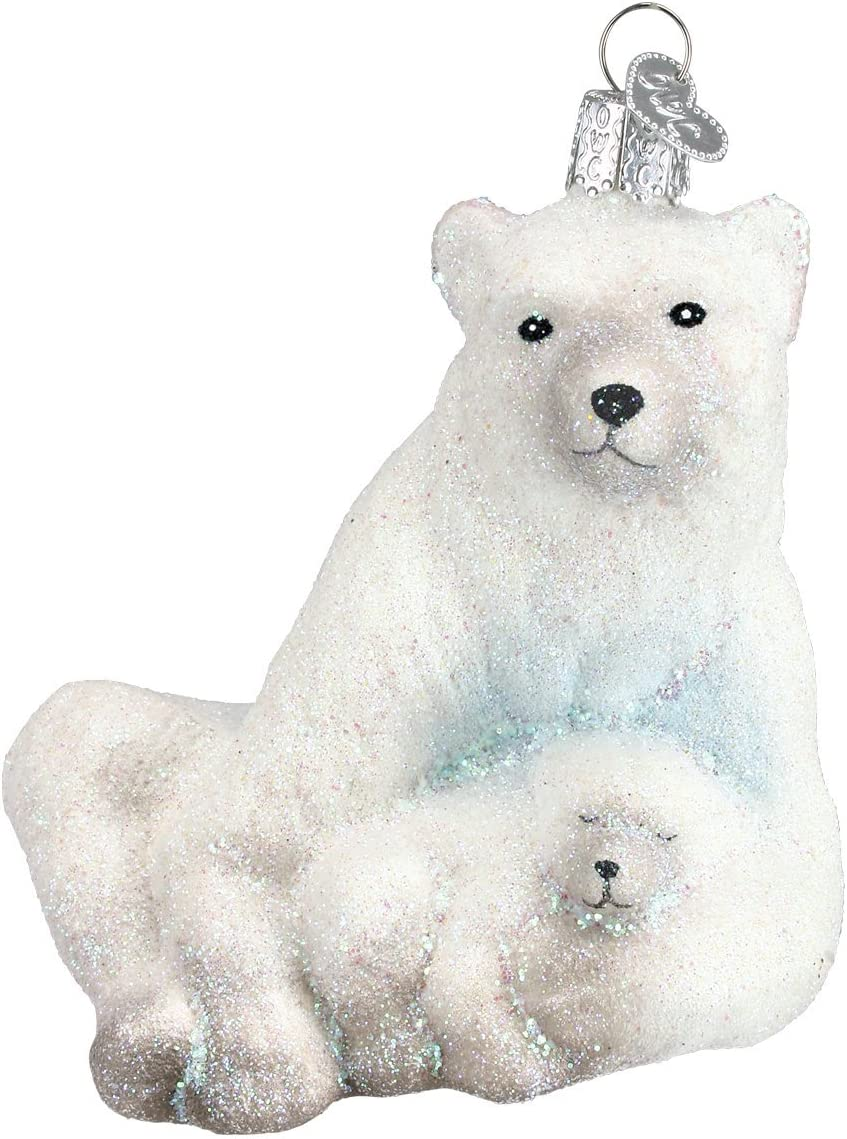Old World Christmas Wildlife Animals Glass Blown Ornaments for Christmas Tree Polar Bear