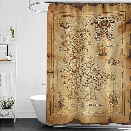 AndyTours Cortinas para mampara de Ducha, diseño de Mapa del Mundo Antiguo del Tesoro con brújula de navegación y Aventura en Tierra Oculta, decoración de baño, Color Azul Crema: Amazon.es: Hogar