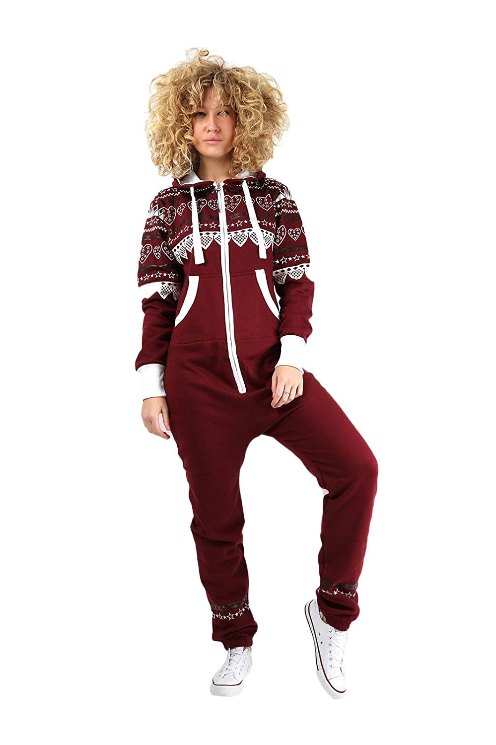 b64910bdc93c Parsa Fashions ® Womens Onesie Aztec Heart Print Ladies Jumpsuits One Piece  Onesie All in One Zip Up Hooded Onesie Tracksuit Playsuit Smll-XL (UK  8-14): ...
