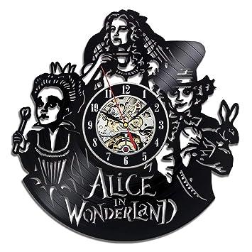 GLJF Alicia en el país de Las Maravillas Reloj de Vinilo Relojes de Registro Batería Decorado Sala de Estar Decorada Regalo: Amazon.es: Hogar