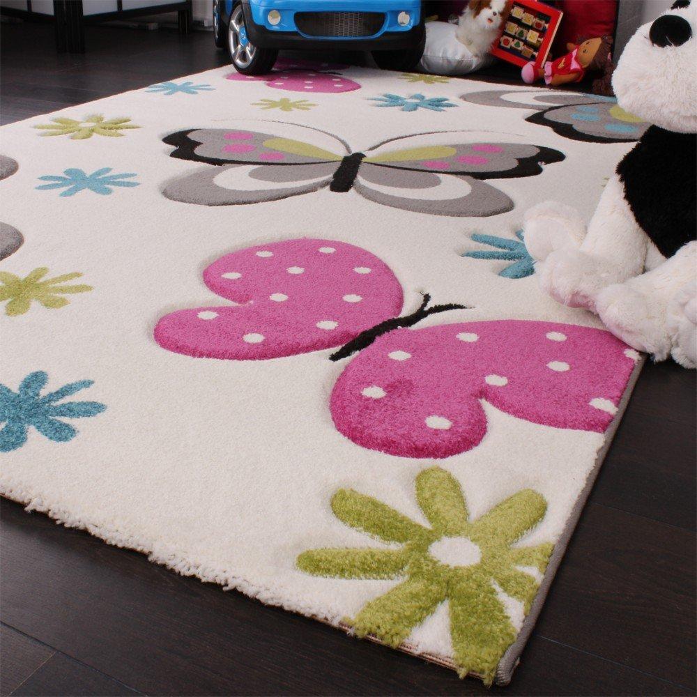 Kinderzimmer teppich  Amazon.de: Kinder Teppich Schmetterling Design Pink Grün Blau Grau ...