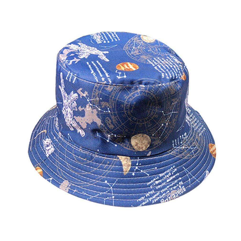 sukeqファッションPackableリバーシブルブラックプリントFishermanバケット太陽帽子UV保護夏旅行帽子ビーチキャップ  ブルー B07F7ZBF29