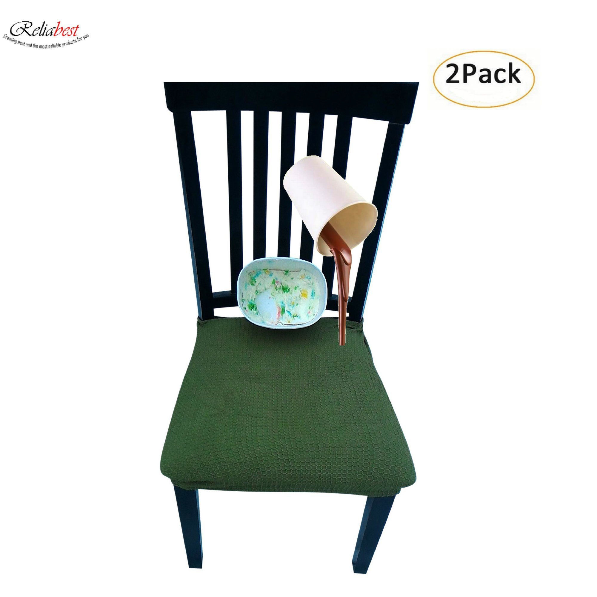 Waterproof Dining Chair Cover Protector - Pack of 2 - Perfect For Pets, Kids, Elderly, Wedding, Party - Machine Washable, Elastic, Removable, Premium Quality, Clean the Mess Easily (dark green)