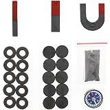 磁石 実験セット 〔棒磁石(細、太)、U磁石、丸型磁石(穴なし、穴あき)、方位磁石、砂鉄〕
