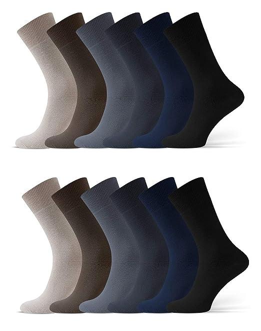 Calcetines diab/éticos pack de 8 Calcetines lisos sin goma o el/ástico algod/ón para hombre