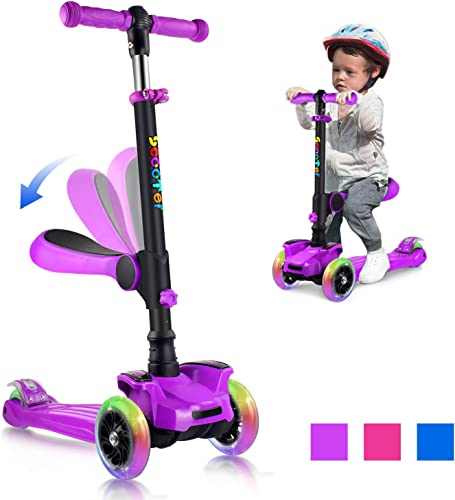 OUTON Scooter for Kids 3 Wheel Kick Scooter for Toddler Girls Boys, Lean to Steer, 4 Adjustable Height, Light Up Wheels for Children Ages 2-14