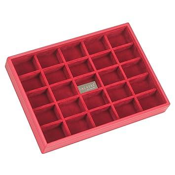 Stackers Classic Size Schmuckkästchen 25 Fächer Karton Mit Rot Samt