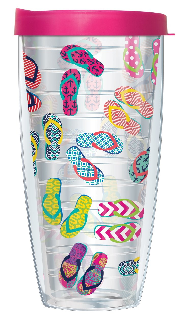 Flip Flops On Clear Wrap Traveler 16 Oz Tumbler Cup with Pink Lid