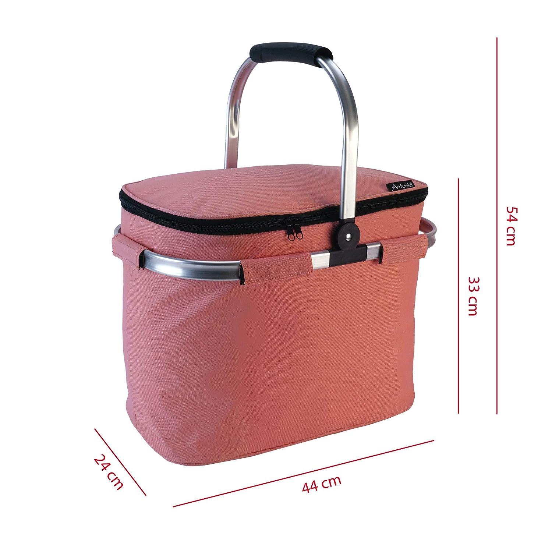 rosa Roomando Einkaufskorb K/ühltasche XL Isolierkorb 40 L Einkaufstasche Shopper Thermotasche faltbar mit Klapphenkel