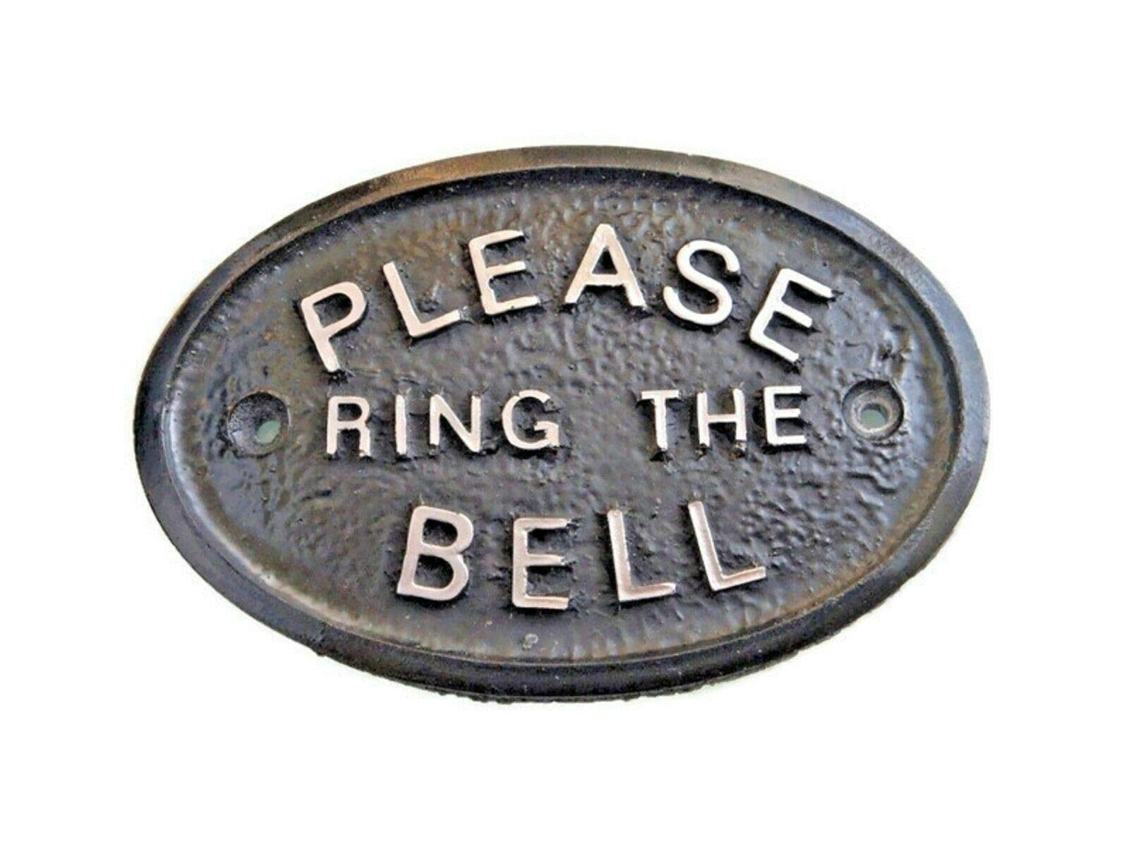 Silver Please Ring The Bell House/Garden Wall Plaque in (Black)