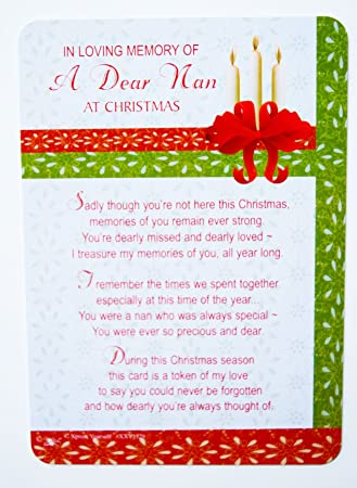 Dear Nan Grave Card Christmas Decorations Memorial Remembrance Missing You