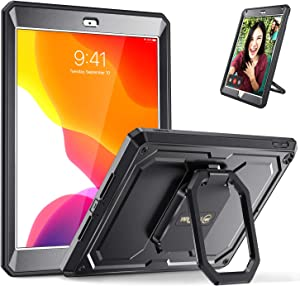 Fintie Case for New iPad 7th Generation 10.2 Inch 2019 - [Tuatara Magic Ring] 360 Degree Rotating Multi-Functional Grip Stand Shockproof Fully-Body Rugged Cover with Built-in Screen Protector, Black