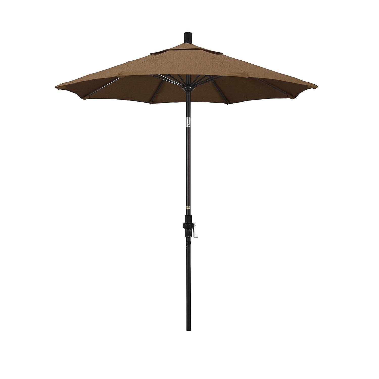 California Umbrella 7.5 Round Aluminum Pole Fiberglass Rib Market Umbrella, Crank Lift, Collar Tilt, Bronze Pole, Sunbrella Teak