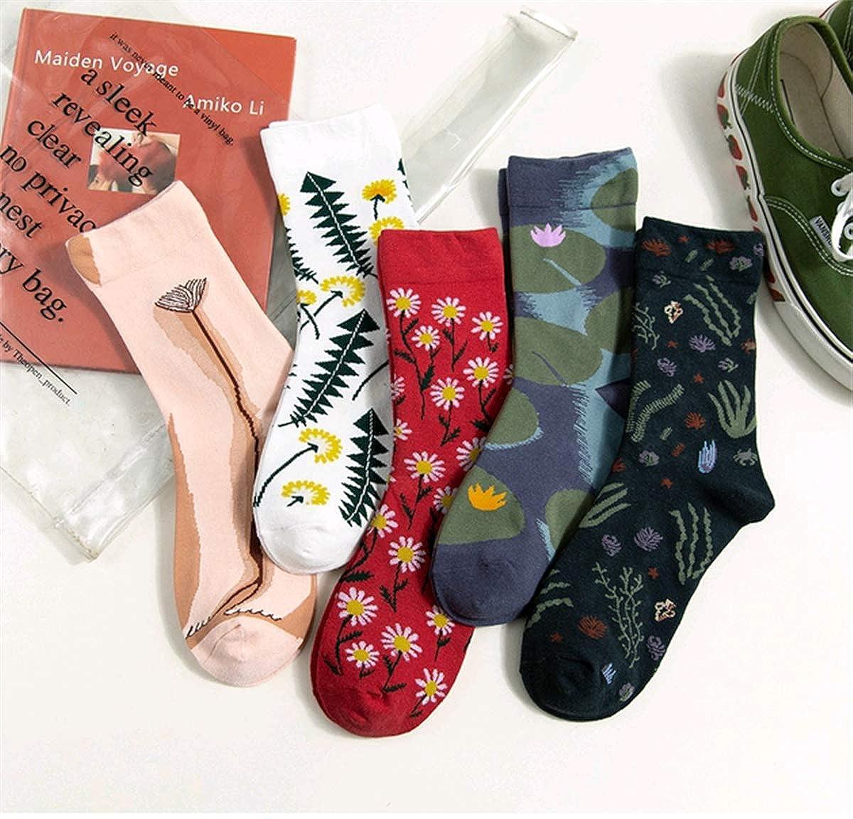 Schkleier Women socks Men 5 Pairs Crew Socks Cotton Soft Plaid Casual Socks Running Socks