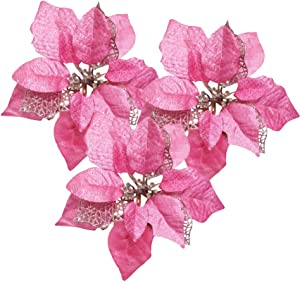 Festivous Wishel Pack of 12 Glitter Artificial Wedding Christmas Flowers Glitter Poinsettia Christmas Tree Ornaments (Pink)