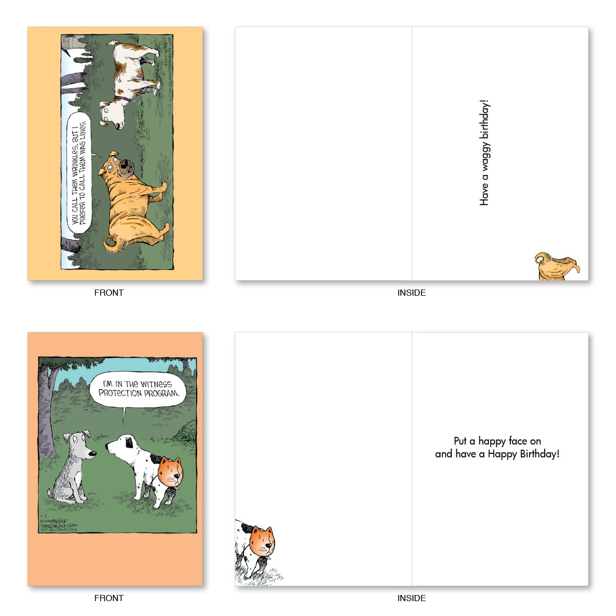 "10 'Dog Days Birthday Assortment' Note Cards (with Envelopes) - Assorted & Boxed Greeting Cards - Funny Cartoon Bday Cards for Friends, Family, All Ages - Stationery Notecards (4"" x 5 ¼"") #A2665BDG by NobleWorks (Image #3)"