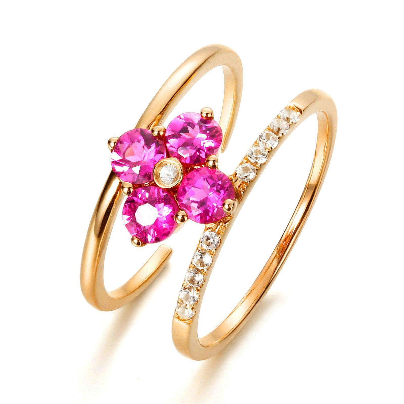 18K Gold Ring(Au750),0.7Ct Pink Tourmaline Flower Ring Wedding Engagement Ring for Women Bride Size 6.5