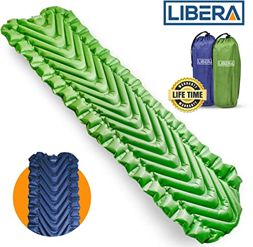 Libera Ultralight Sleeping Pad for Camping I Waterproof Sleeping Pad for Backpacking I Inflatable Camping Pad for Sleeping I Includes Compact Storage Pouch Repair Kit