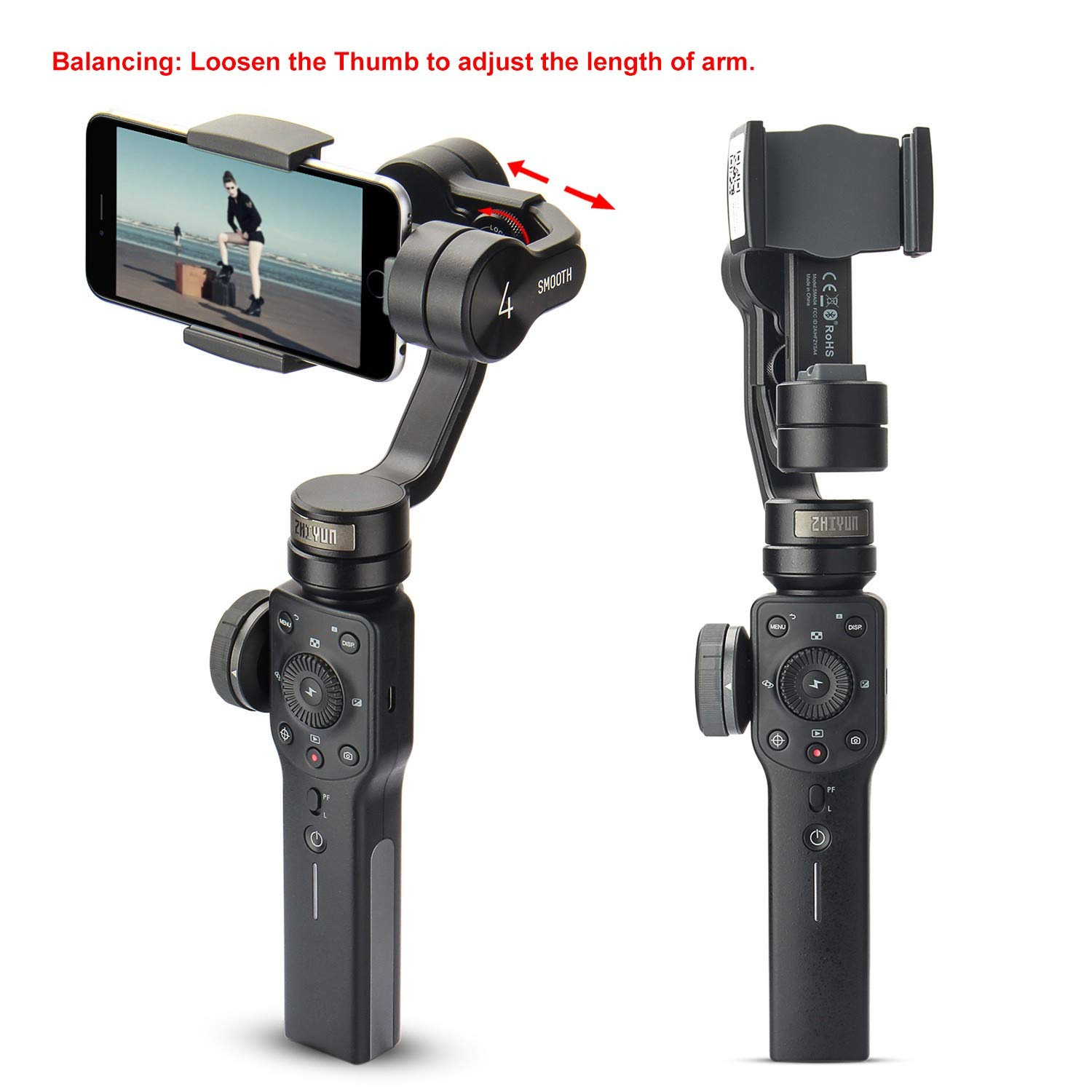 d93f7ba42 Amazon.com : Zhiyun Smooth 4 3-Axis Handheld Gimbal Stabilizer w/Focus Pull  & Zoom for iPhone Xs Max Xr X 8 Plus 7 6 SE Android Smartphone Samsung  Galaxy ...