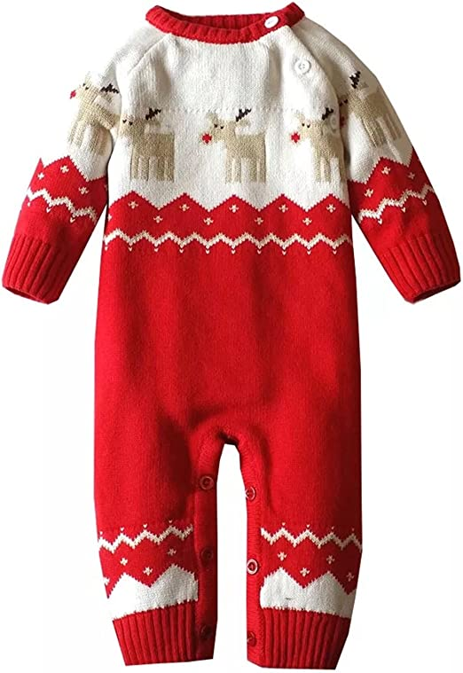 1pc Infant Newborn Baby Boy Girl Knitted Christmas Deer Rompers Jumpsuit Outfit