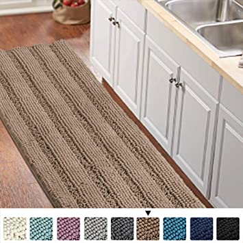 Luxurious Shaggy Chenille Kitchen/Bath Mat Non-Slip Kitchen Rug Taupe Brown  Chenille Rug Striped Kitchen Mat Runner Water Absorbent Bath Rug Runner ...