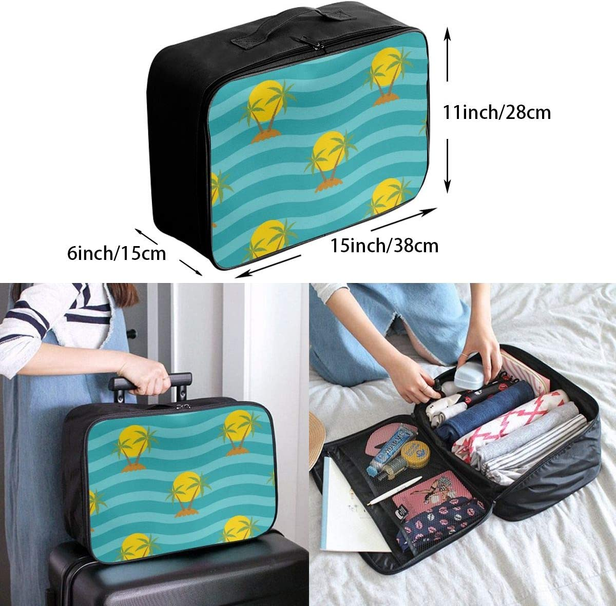 Yunshm Wave Blue Striped Palm Tree Travel Customized Trolley Handbag Waterproof Unisex Large Capacity For Business Travel Storage