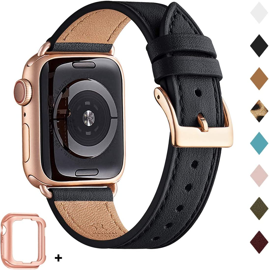 Bestig Band Compatible for Apple Watch 38mm 40mm 42mm 44mm, Genuine Leather Replacement Strap for iWatch Series 5/4/3/2/1, Sports & Edition (Black Band+Rose Gold Adapter, 38mm 40mm)