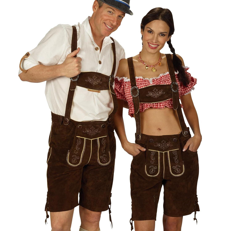 Trachten Lederhose Herren kurz, Rindsvelour, mit Hosenträgern, edel fürs Oktoberfest