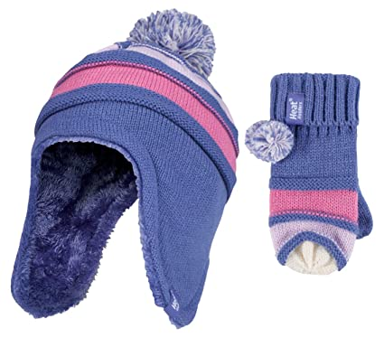 509c3d3cec9e8 Heat Holders - Girls Thermal Pompom Winter Hat and Mittens Set with Ear  Flaps (3