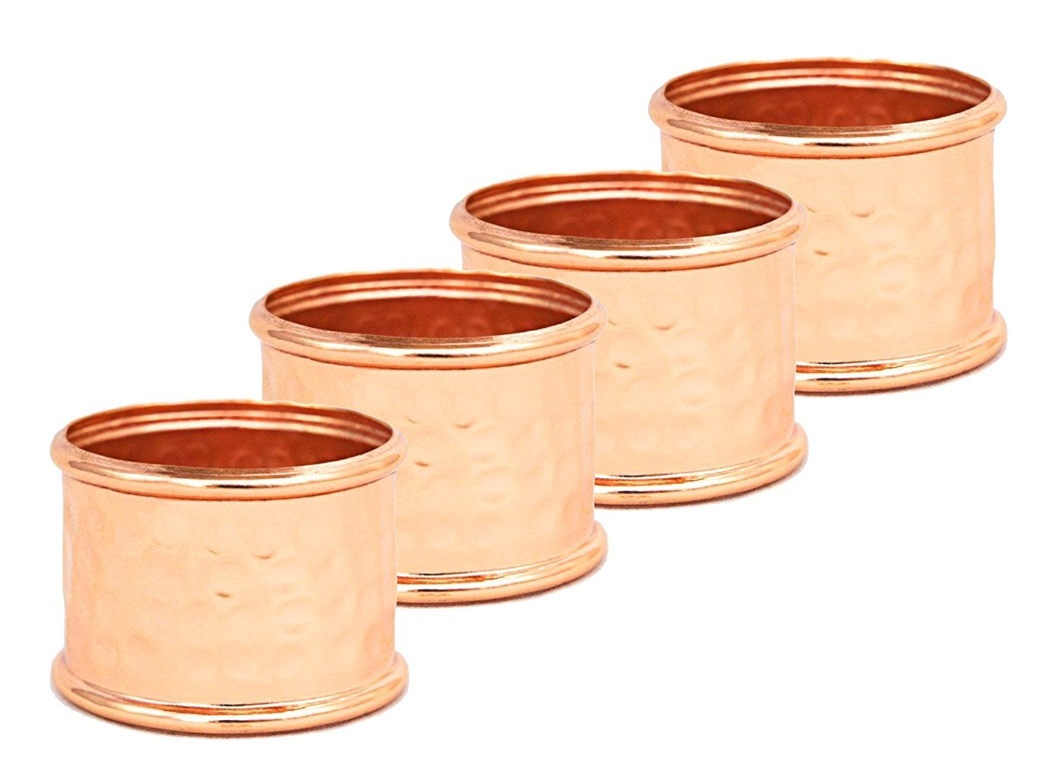 Round Hammered Copper Napkin Rings (Set of 4) - by Alchemade 6105
