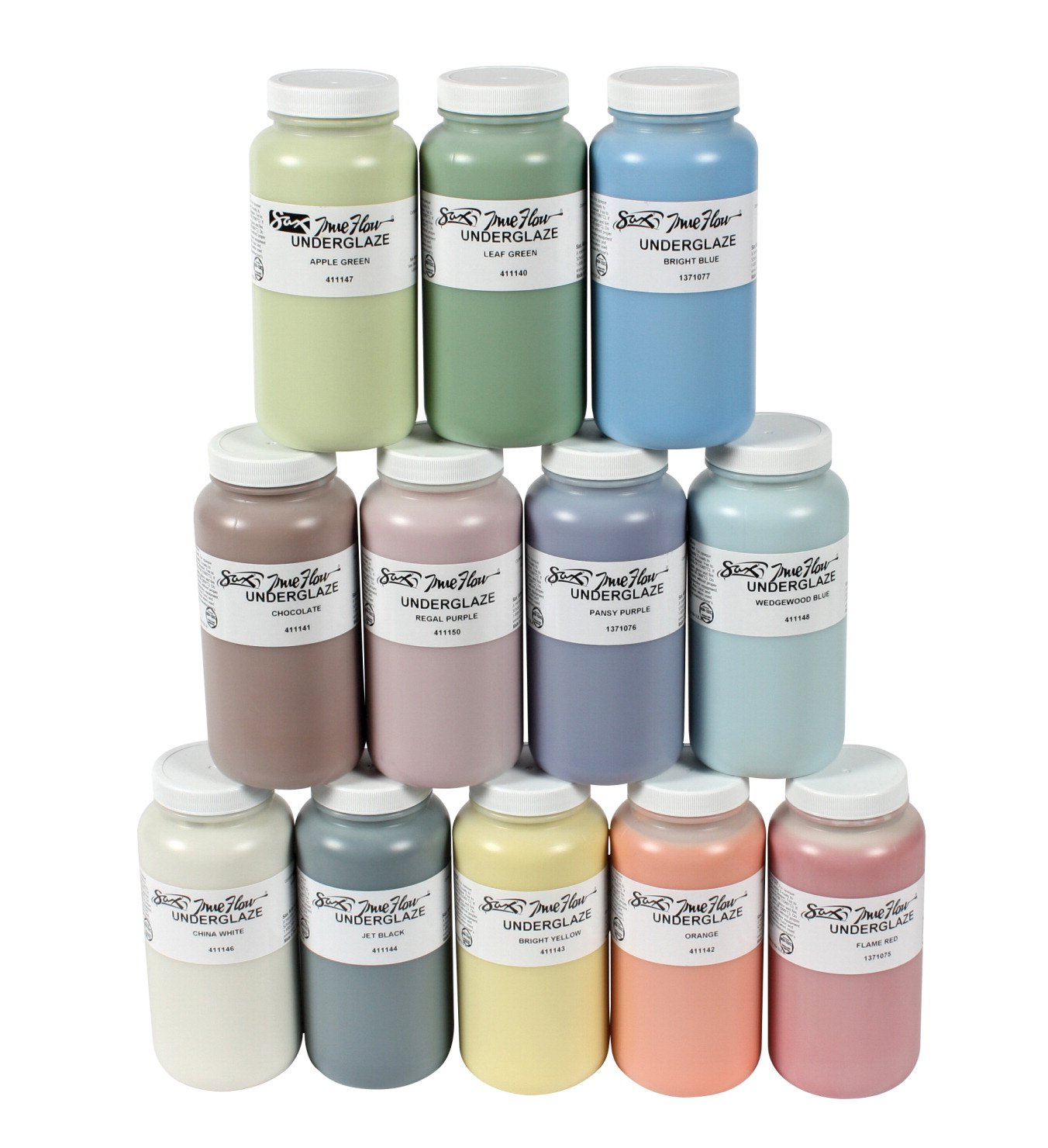 Sax Underglaze, Assorted Colors, 1 Pint Volume (Set of 12) by Sax
